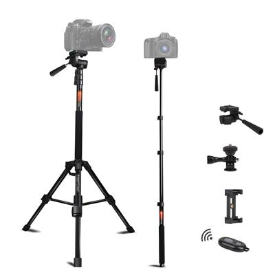 Tripod for Camera and Phone Monopod with Remote Action Camera Mount Adapter